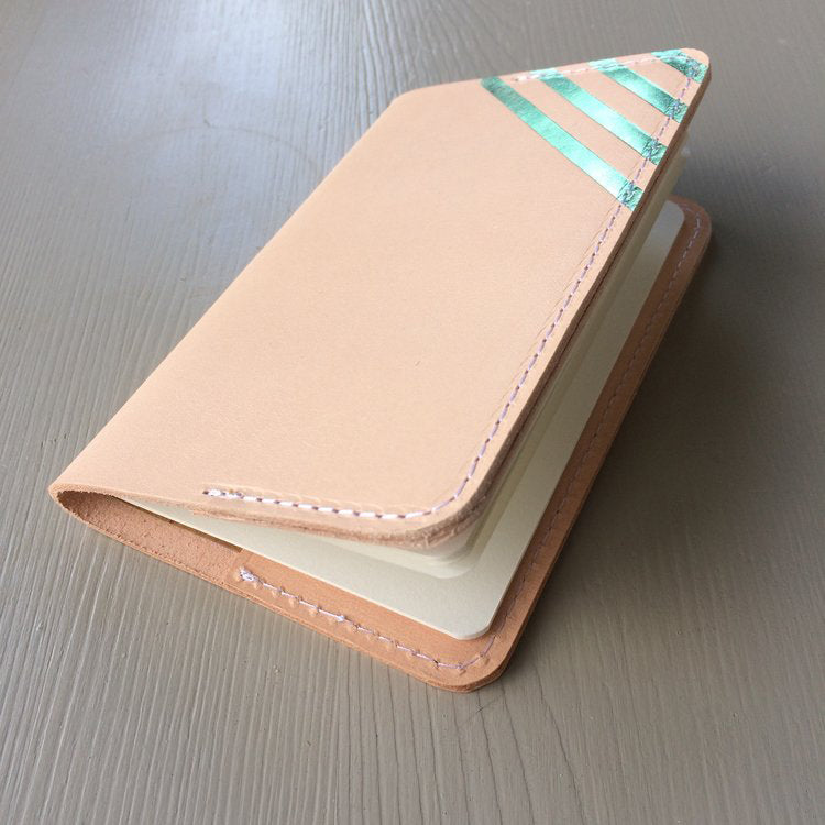 A6  leather notebook holder with a blue stripe