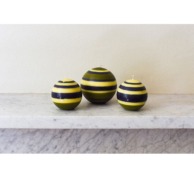 Small Striped Ball Candle in Olive, Indigo and Jasmine