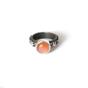 Orange Moonstone & Silver Butterfly Ring