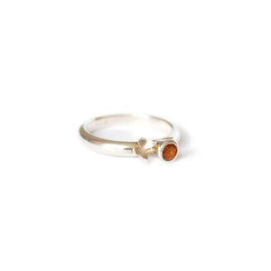 Butterfly & Orange Citrine Silver Ring