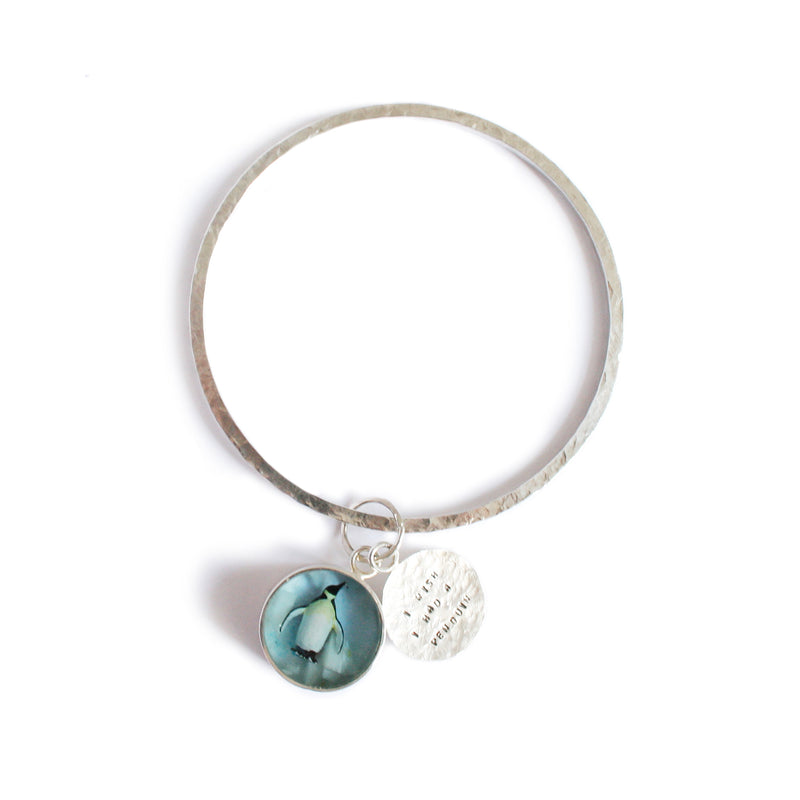 """I Wish I Had A Penguin"" Silver and Resin Bangle"