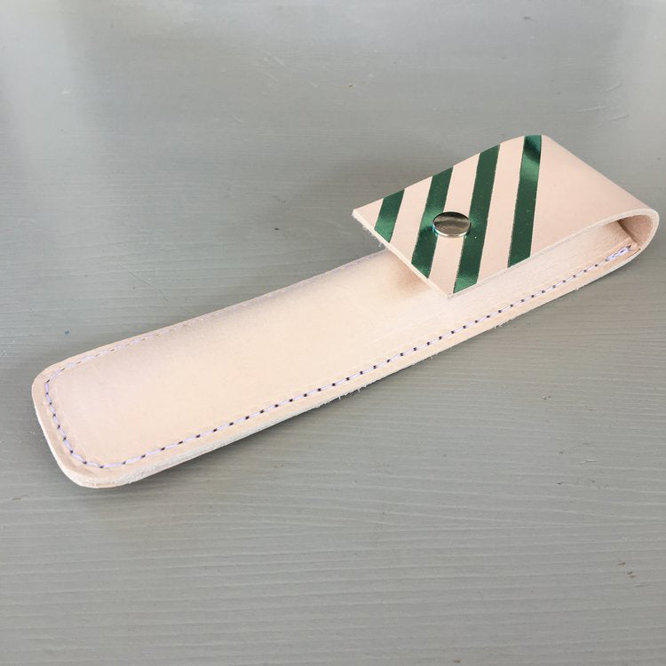 Leather Pen Case with Metalic Stripe