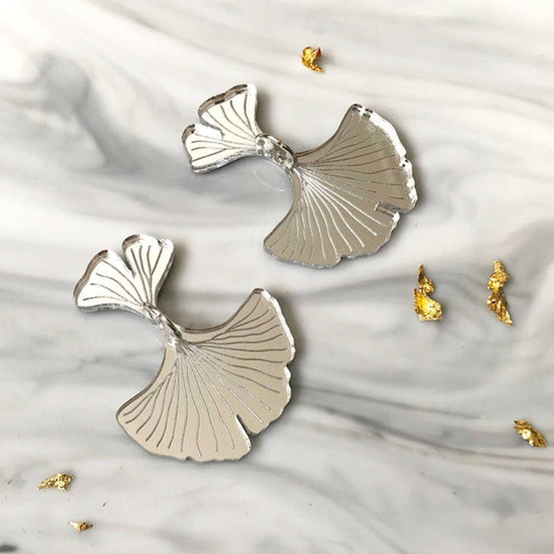Silver Ginkgo Drop Earrings