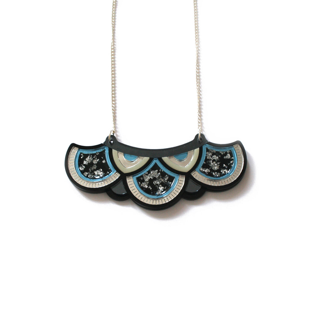 Blue and Silver Geometric Arc Necklace
