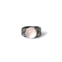 Rose Quartz & Silver Butterfly Ring