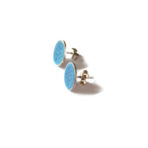 Round Blue Tidal Dot Patterned Studs