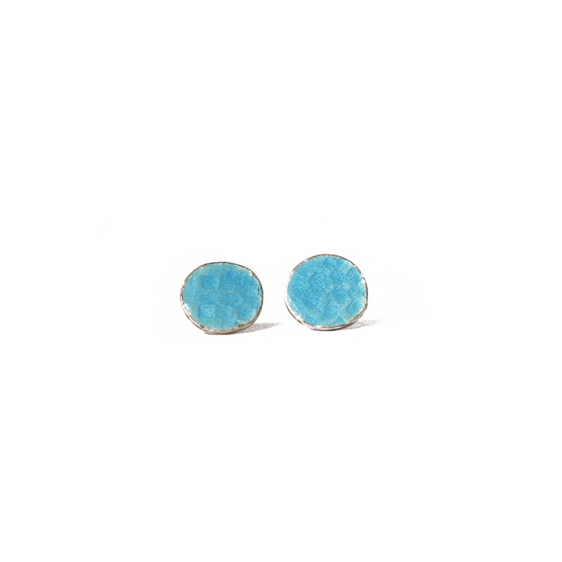 Round Pale Blue Tidal Square Patterned Studs