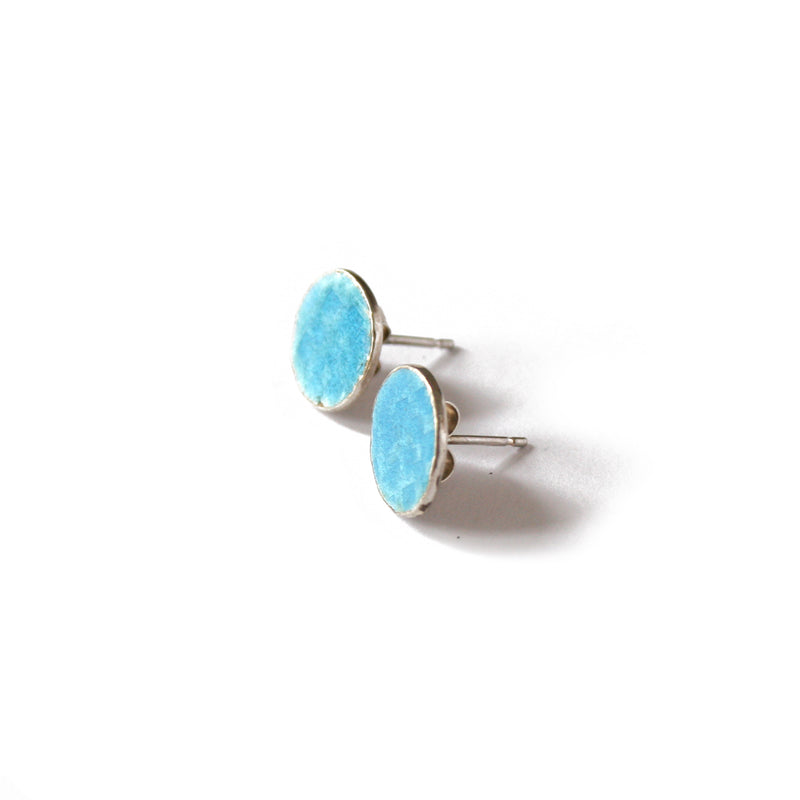 Round Blue Tidal Square Patterned Studs