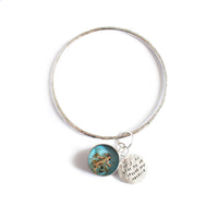 """Oh I Do Like To Be Beside The Seaside"" Resin and Silver Bangle"