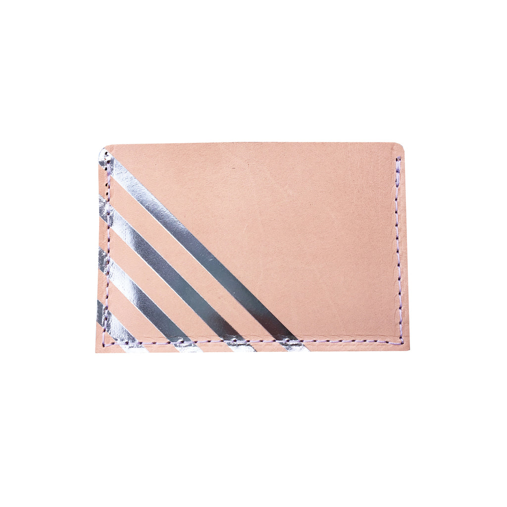 Leather Card Holder with Blue Stripe