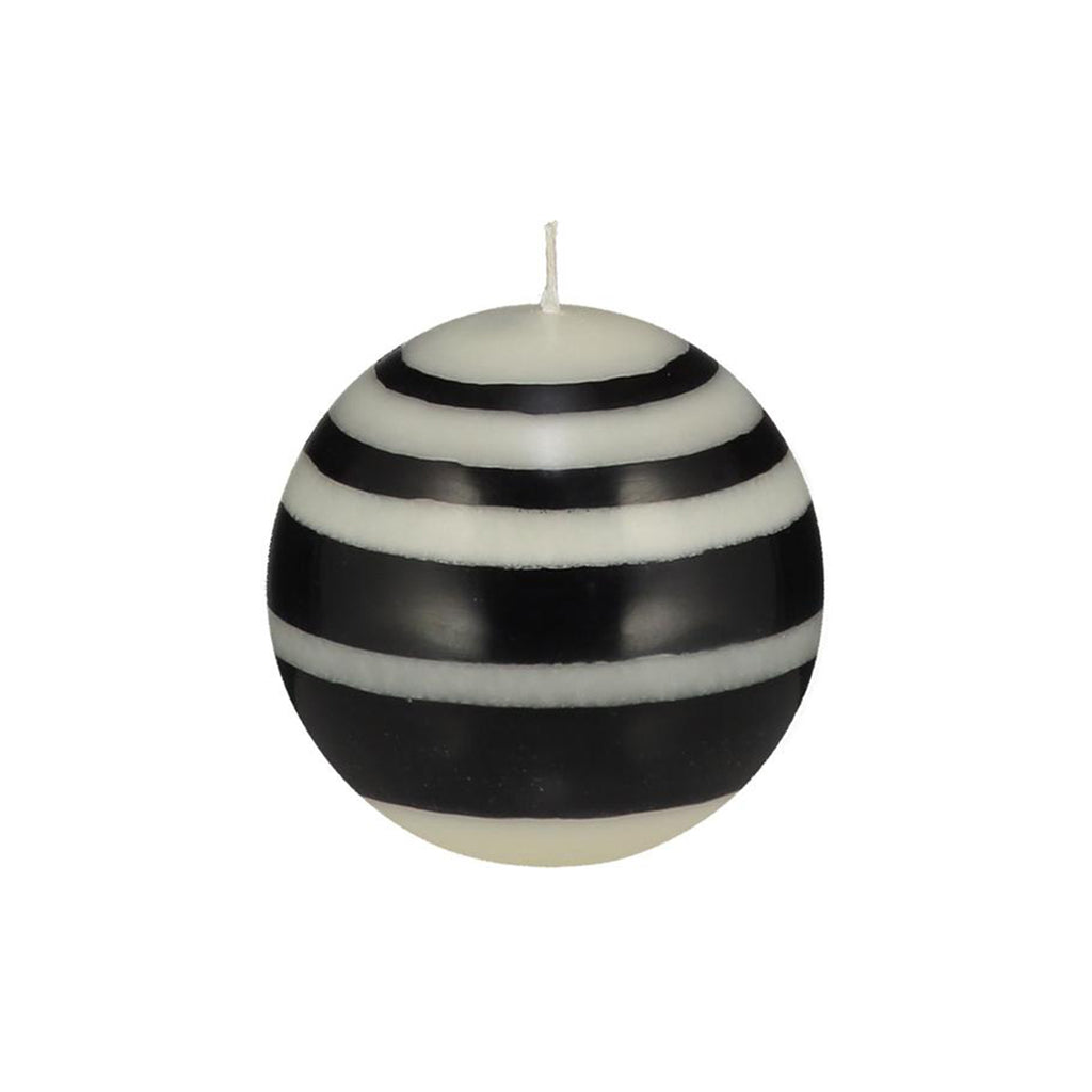 Small Striped Ball Candle in Jet and Pearl