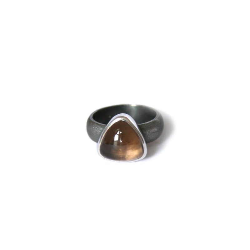 Smokey Quartz Oxidised Silver Ring
