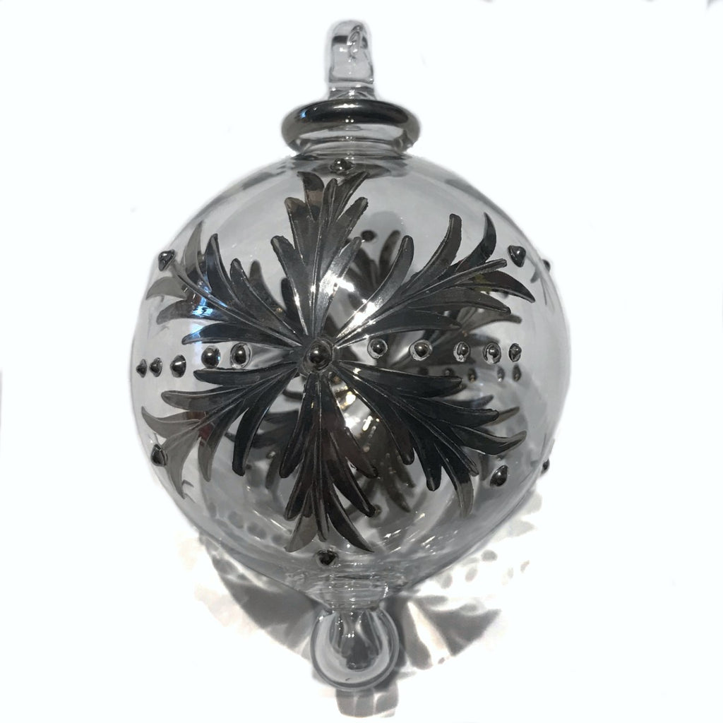 Snowflake Silver Hand-Blown Bauble