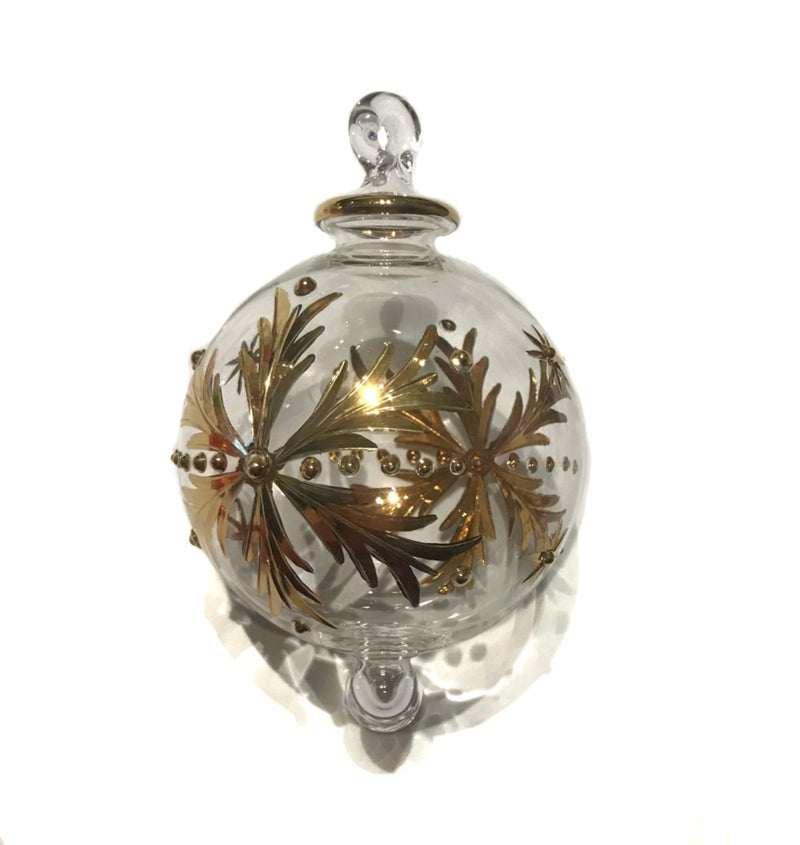 Snowflake Gold Hand-Blown Bauble