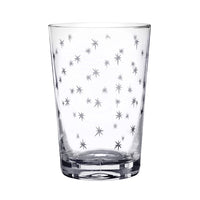 Hand Etched Star Pattern Crystal Glass Tumbler
