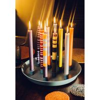 Striped Opaline, Pompadour & Rust Eco Candles