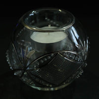 Silver 'Antique Swag' hand-blown glass votive