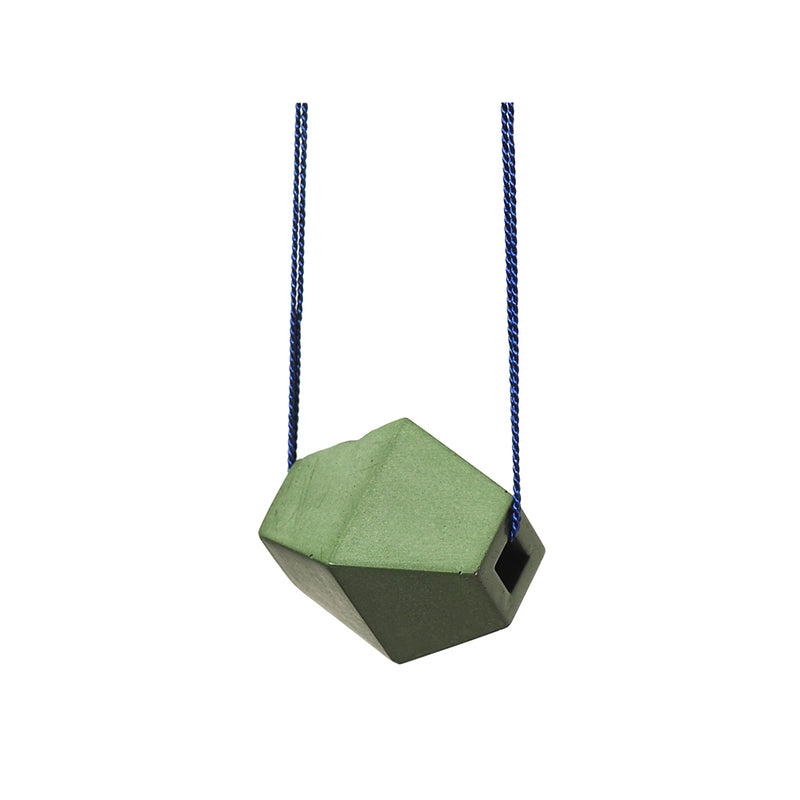 "Green ""Trapezoid"" Concrete & Blue Silk Necklace"