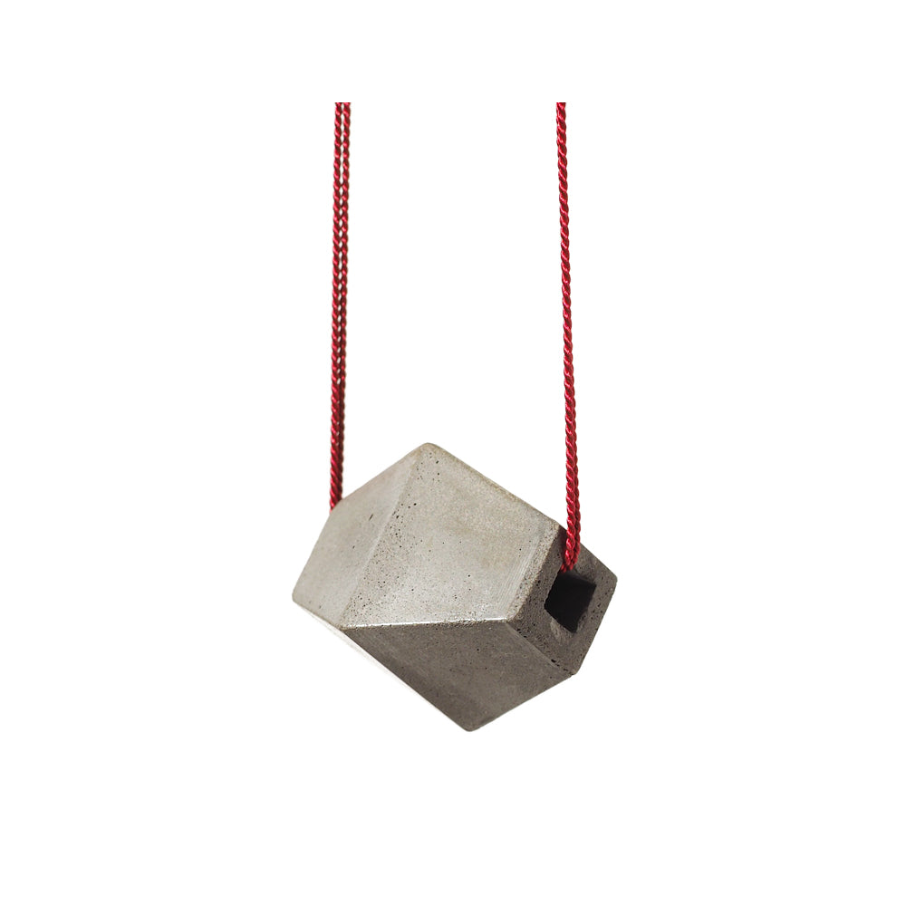 "Grey ""Trapezoid"" Concrete & Red Silk Necklace"