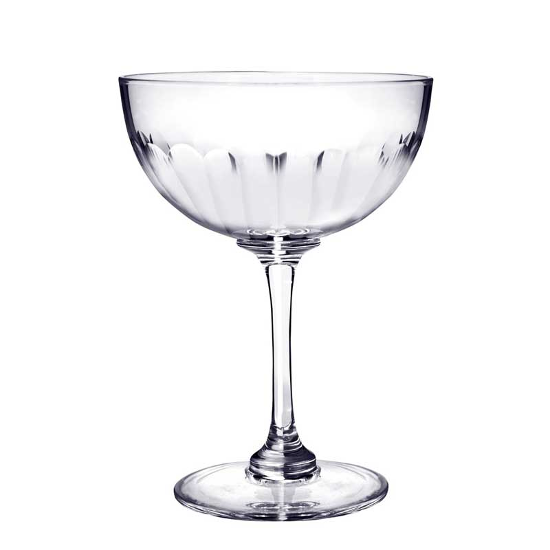 Faceted Crystal Glass Champagne Saucer
