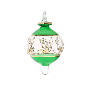 Victorian Gem Bauble in Green & Gold, Small