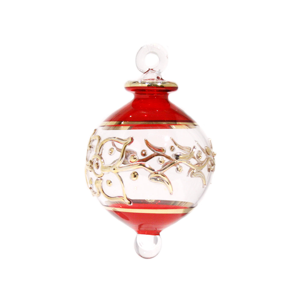Victorian Gem Bauble in Red & Gold, Small