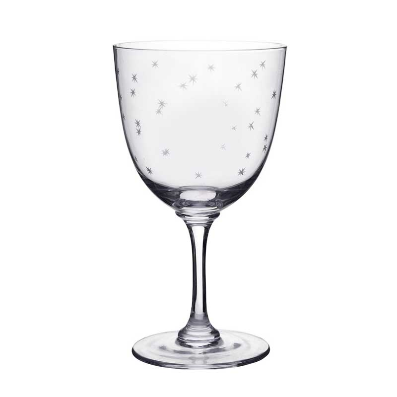 Stars Etched Wine Glass