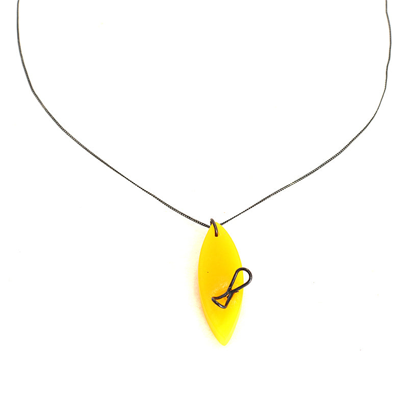 Yellow Resin and Oxidised Silver Necklace