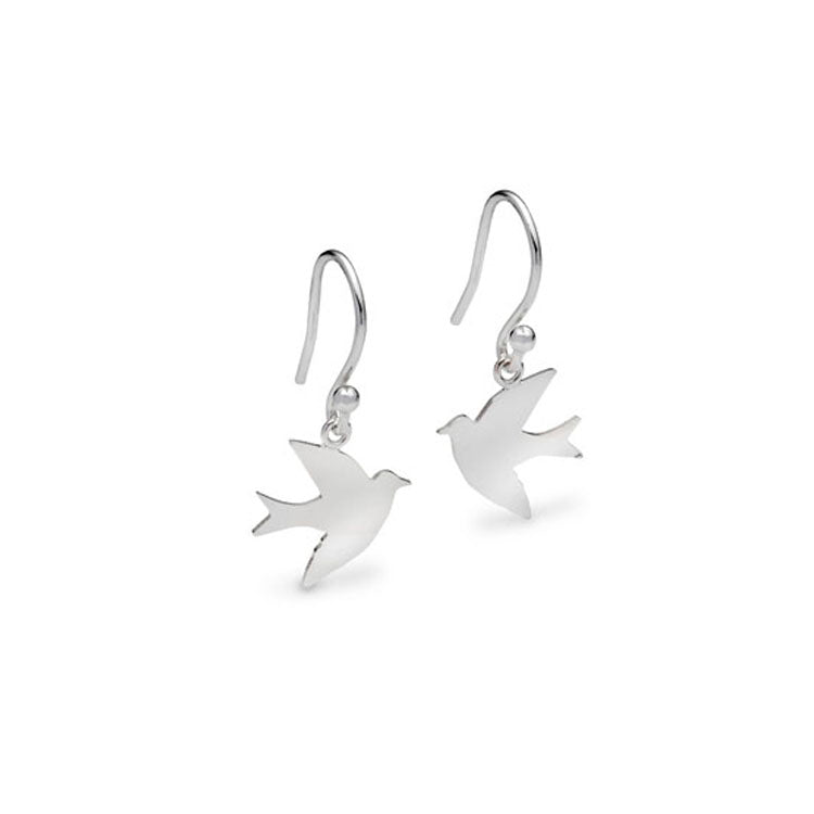 Silver Swallow Drop Earrings
