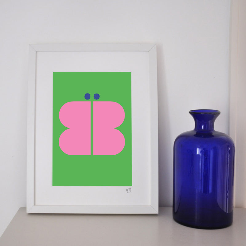 B is for Butterfly framed print.