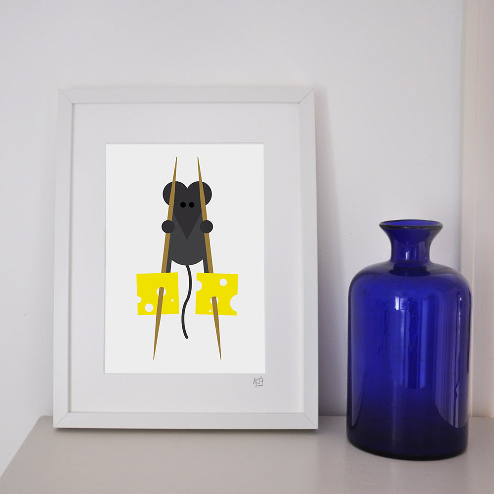 Mouse on stilts framed print.