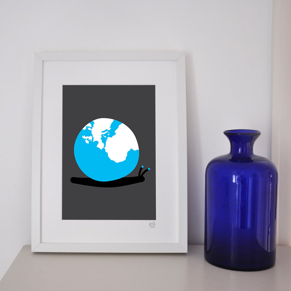 'World on his shoulders' framed print.