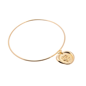 Rose wax seal bangle in gold