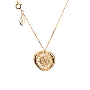 Rose wax seal necklace in gold