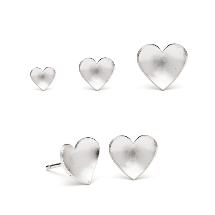 Silver Heart Studs, Small