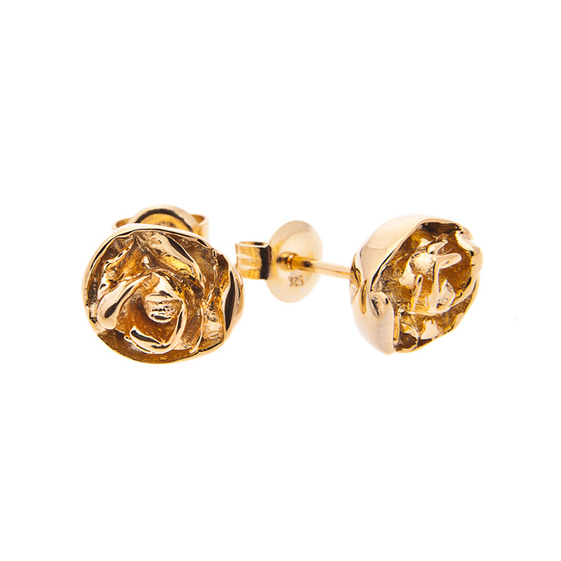 Large Rose studs in gold