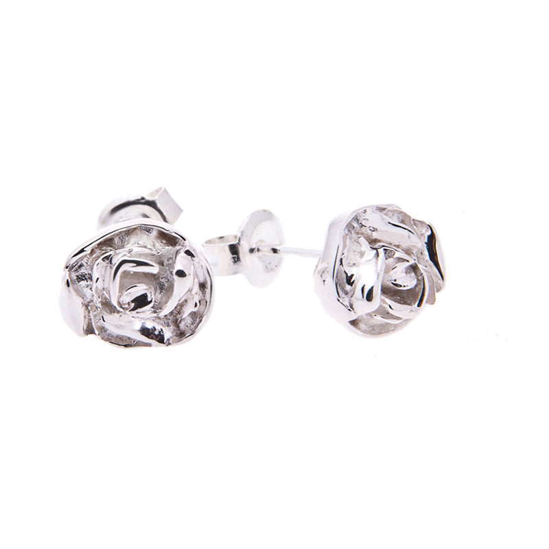 Large Rose studs in silver