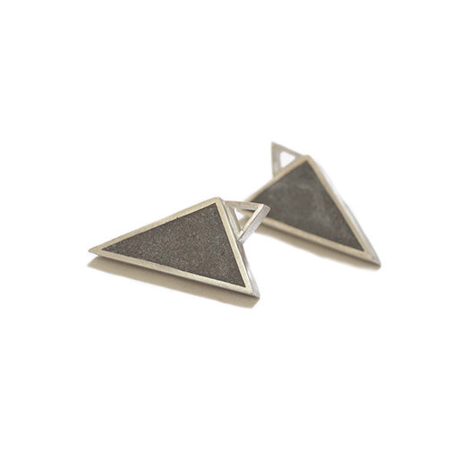 "Large Triangle ""Geometry"" Concrete & Silver Studs"