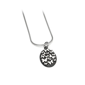 Oxidised Silver with Multi Butterfly Necklace, Large