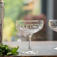 Pair of Faceted Crystal Cocktail Glasses