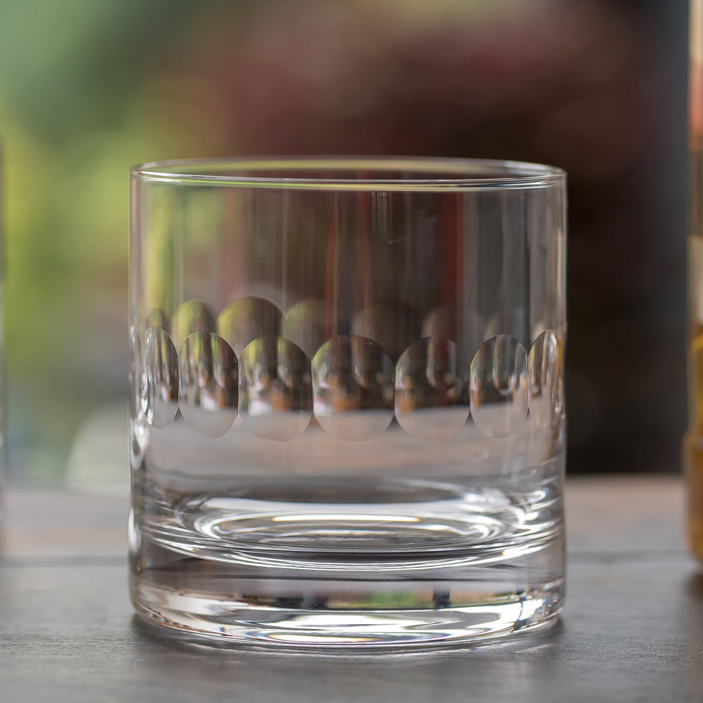 Pair of Faceted Crystal Whisky Glasses