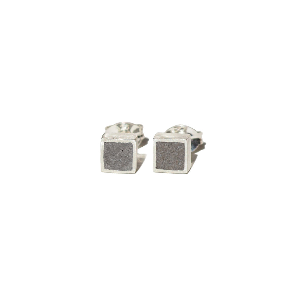 "Square ""Geometry"" Concrete & Silver Studs"