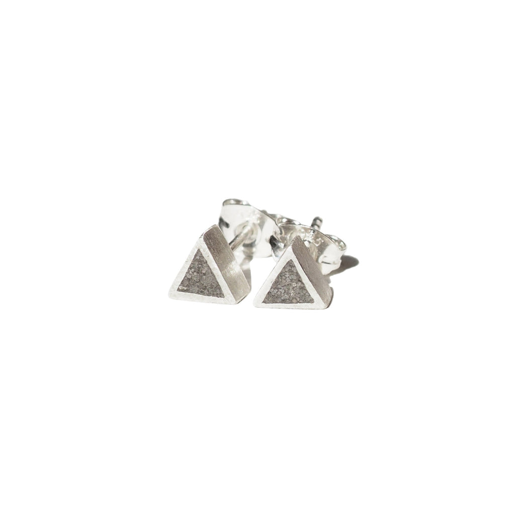 "Triangle ""Geometry"" Concrete & Silver Studs"