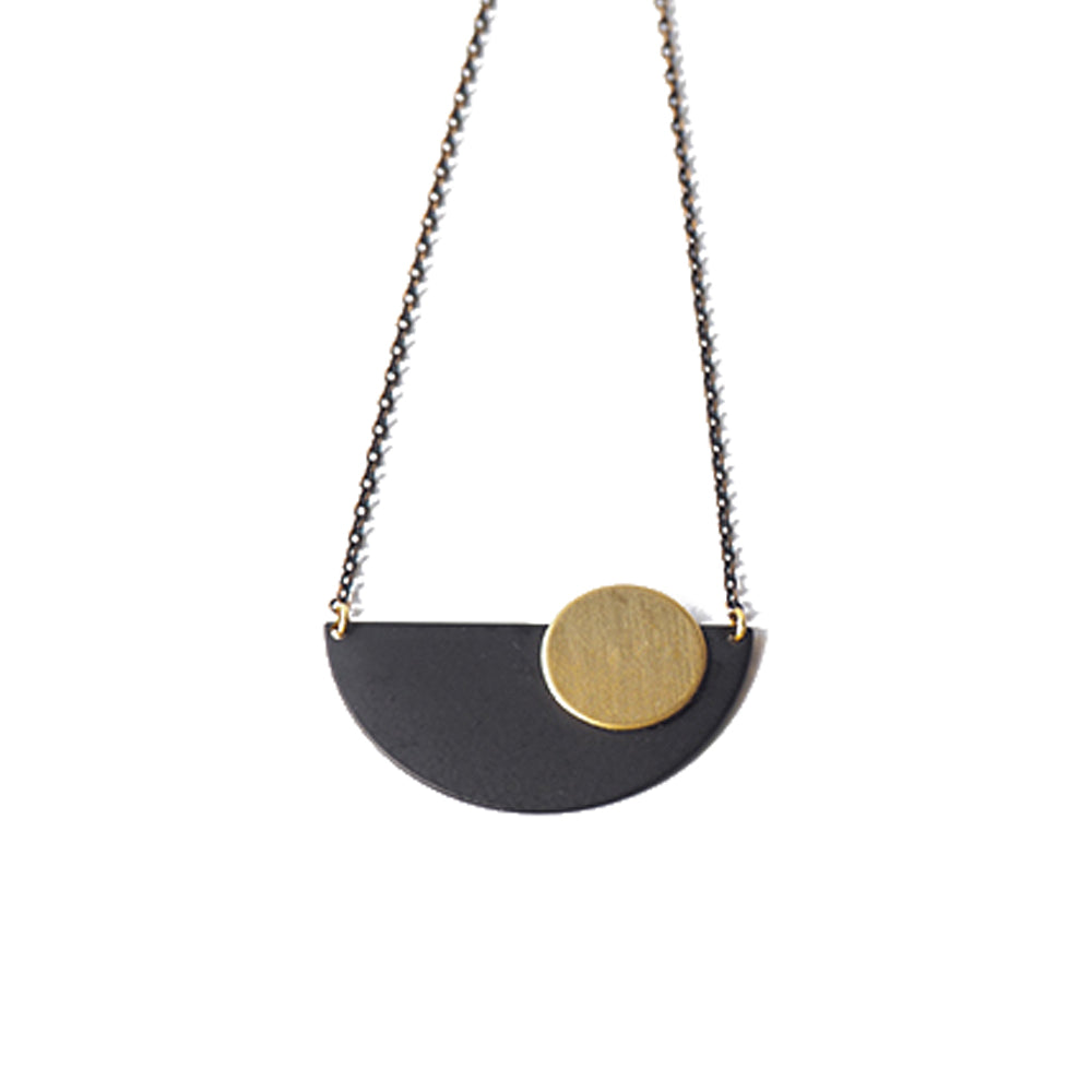 Black Crescent & Brass Disc Necklace