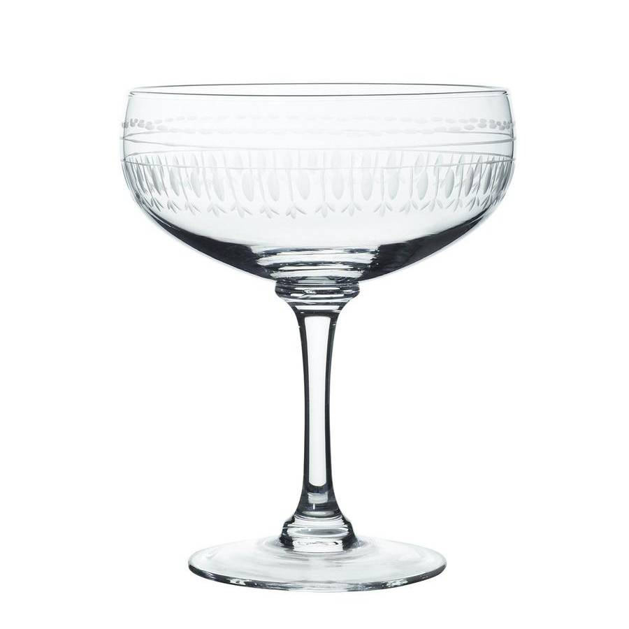 Pair of Ovals Etched Crystal Cocktail Glasses