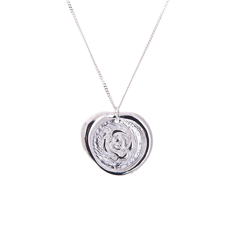 Rose wax seal necklace in silver