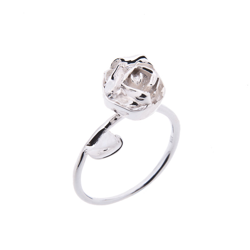Rose ring in silver