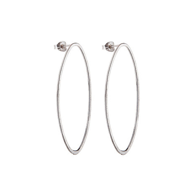 Large Silver Oval Hoop Studs