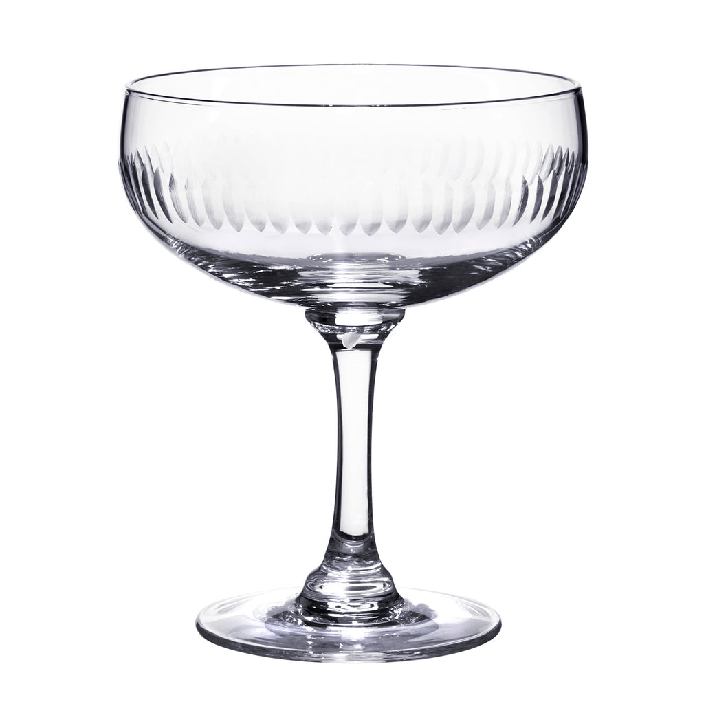Pair of Spear Etched Crystal Cocktail Glasses