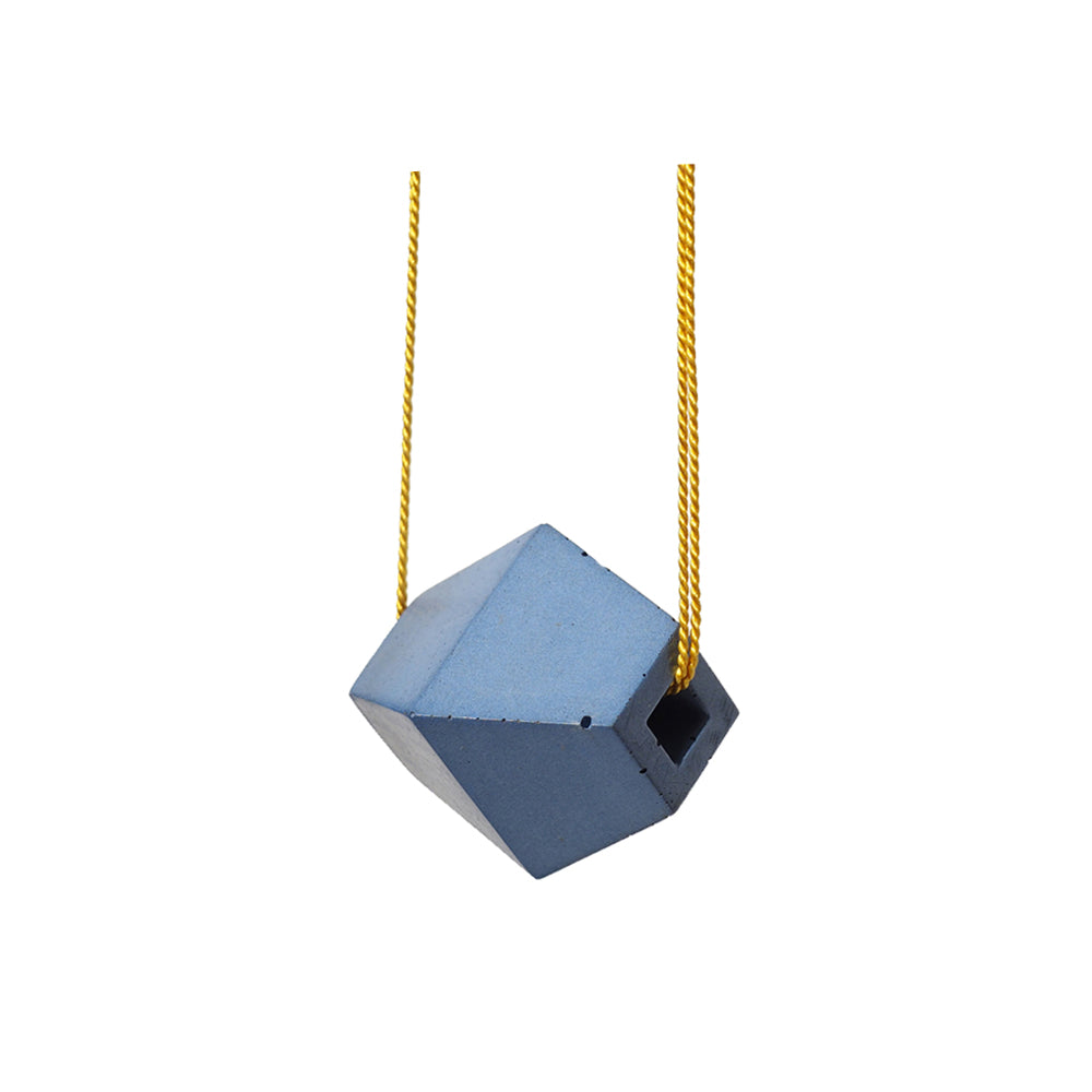 "Blue ""Trapezoid"" Concrete & Yellow Silk Necklace"